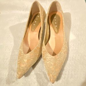 Lace Satin wooden low-heels